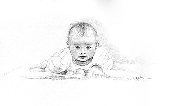 graphite baby portrait illustrated by Ashley Spencer