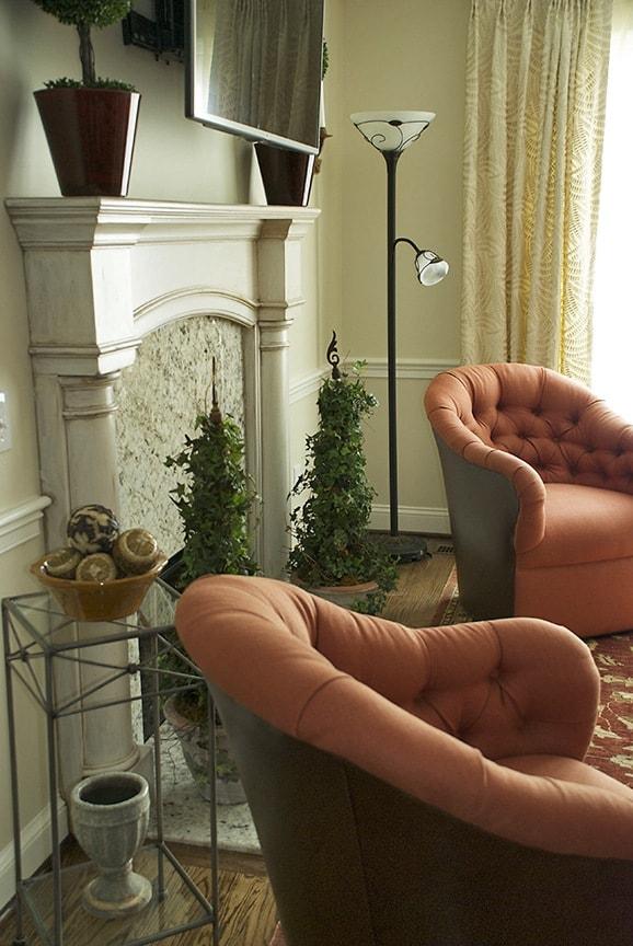 Painted Fireplace enhances interior design via ashley-spencer.com