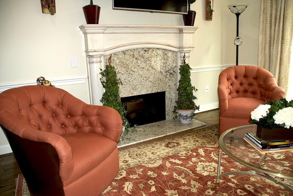 Fireplace after refinishing via ashley-spencer.com