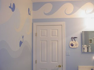 Whale Mural and Wave Elements painted by C. Ashley Spencer