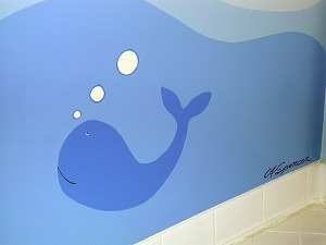 Whale Mural detail with signature by Ashley Spencer