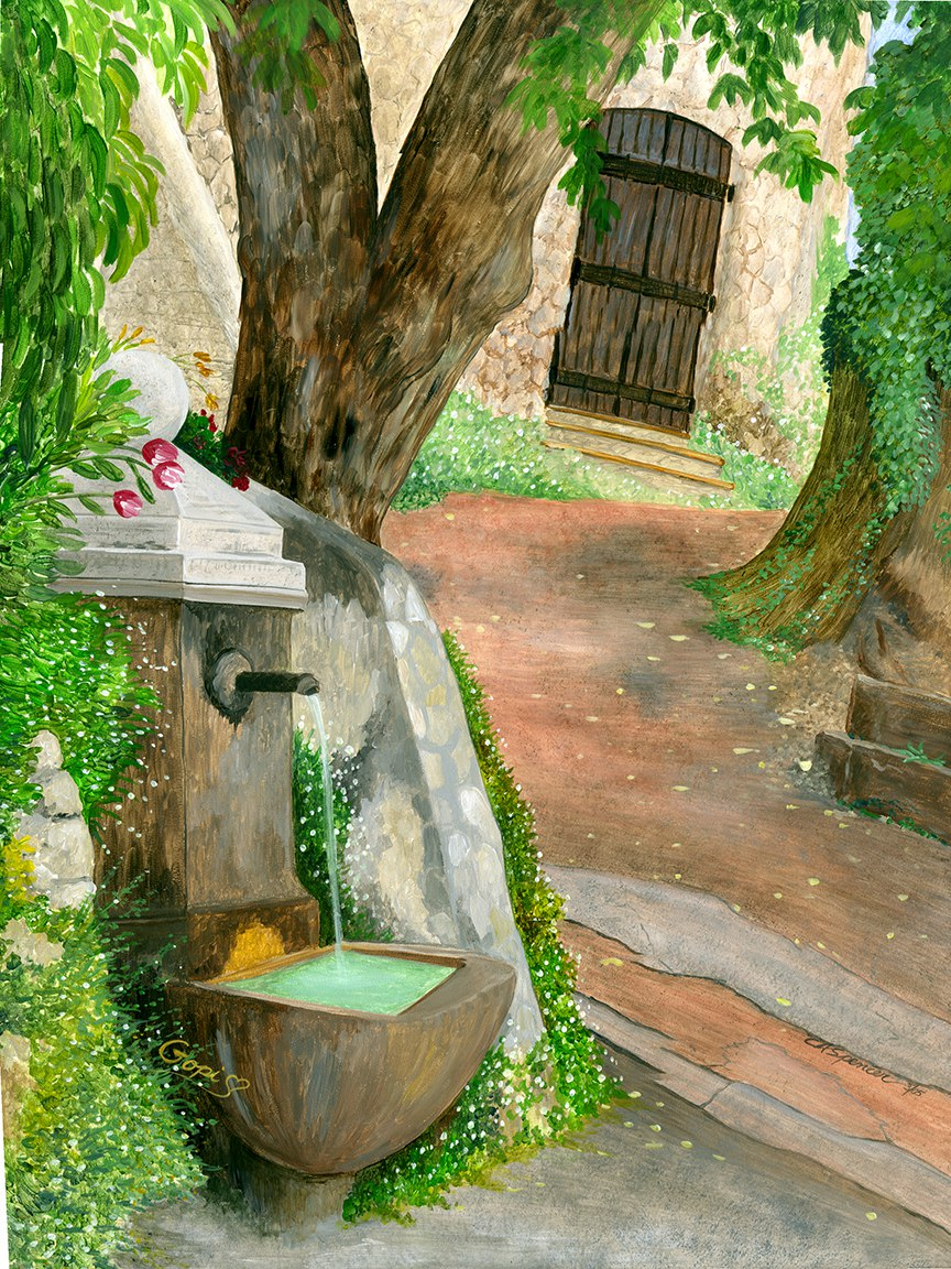 Provence Mural without window_painted by C. Ashley Spencer